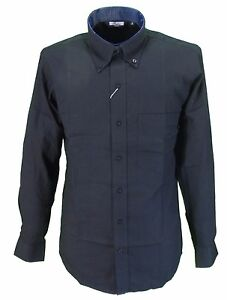 Relco-Black-Oxford-Cotton-Long-Sleeved-Retro-Mod-Button-Down-Shirts
