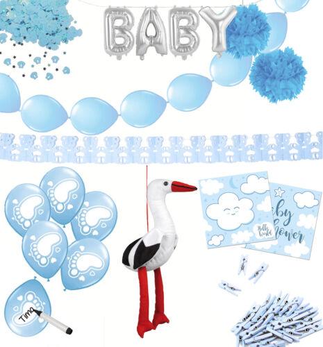 Baby Party Set blau Shower Deko Gender reveal Babyshower Pompom Storch Boy Junge