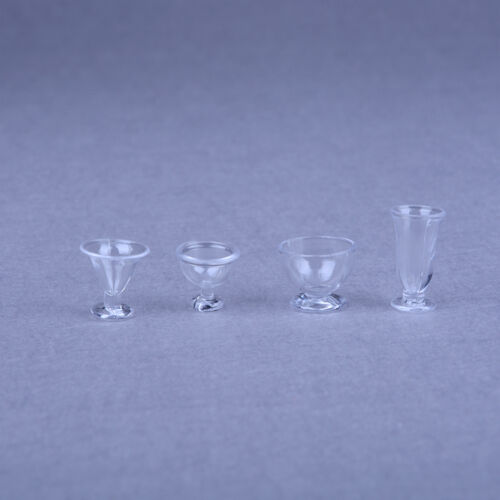 17pcs Dollhouse Miniature Ice Cream Cups Toy Kitchen Dining-Room Clear NewB Bc
