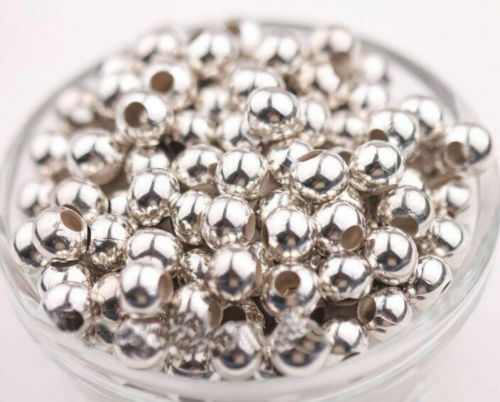 Wholesale Smooth Silver Gold Metal Round Ball Spacer Beads 4mm 5mm 6mm 8mm DIY