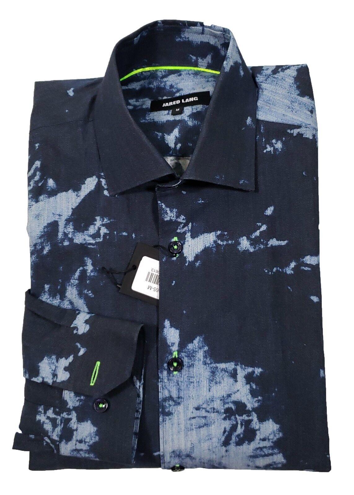 Jared Lang Men's bluee Paint Splatter Print Button Front Shirt