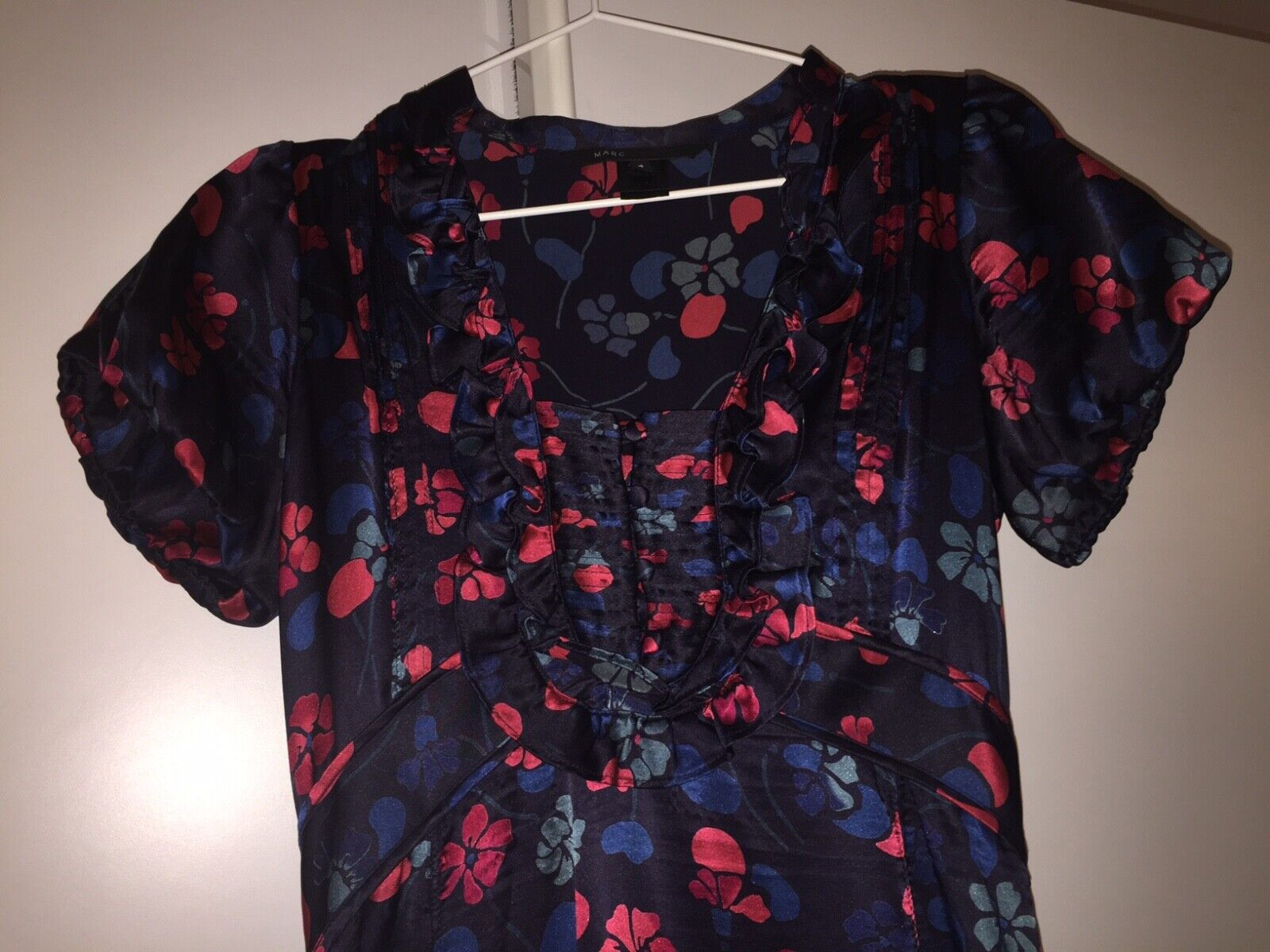 MARC MARC MARC BY MARC JACOBS VINTAGE DARK NAVY FLORAL GIRLY MIDI DRESS    STYLISH & CUTE  620e97
