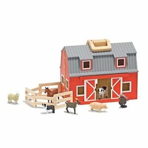 Details About Melissa Doug Fold Go Wooden Horse Barn Dolls House Toy Playset