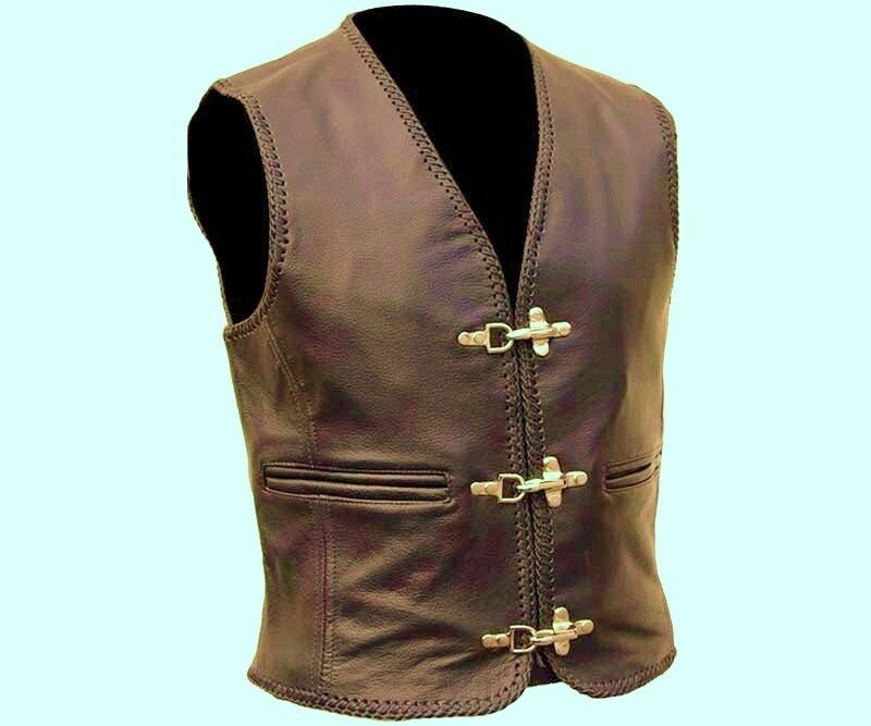 Brown Leather Biker Style Waistcoat Cut Vest  Most Sizes