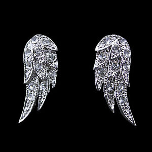 Image Is Loading Angel Wing Earrings Use Austria Crystal 18k White