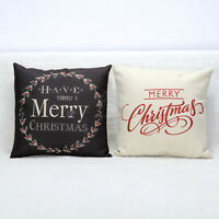 Merry Christmas Letter Print Pillow Case Sofa Bed Cushion Cover Home Decoration