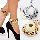 Womens Cuban Curb Single Chunky Chain Slave Jewelry Bracelet Foot Chain Anklet B