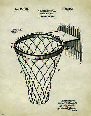 Basketball Hoop Patent Poster Print Art Motivational Vintage NBA College PAT292