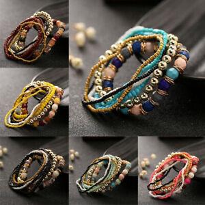Fashion-Multi-layer-Beads-Stretch-Bracelet-Bangle-Wristband-Charm-Jewelry-Gift