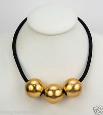 Kenneth Jay Lane Black Rubber Tube Necklace w/ round satin gold beads