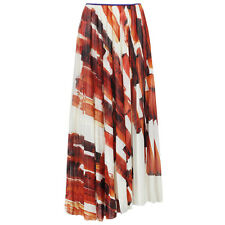Celine White Red Mulberry Silk Full-Length Pleated Skirt FR36 UK8