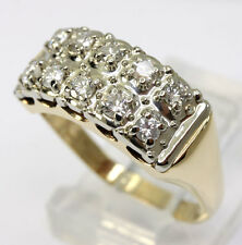 Diamond ring band 14K 2 tone gold double row 10 round brilliants .50CT sz 7 chic