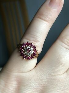 Vintage-Ruby-Diamond-Cocktail-Harem-Floral-Dome-Circle-Ring-14K-yellow-Gold-2-9g