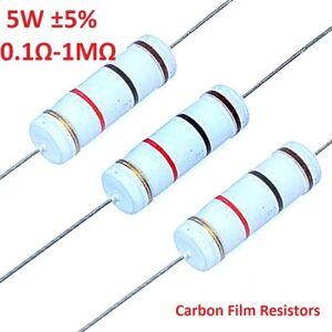 10PCS-5W-Carbon-Film-Resistor-de-gran-potencia-5-completo-rango-de-valores-0-1-a-1M