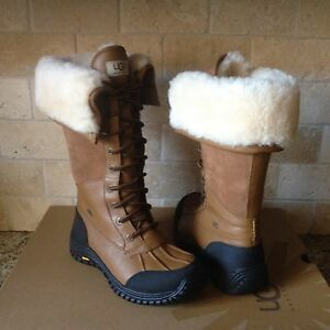 53c453e8b5e Details about UGG Adirondack II Otter Leather Waterproof Tall Rain Snow  Boots Size 5.5 Womens