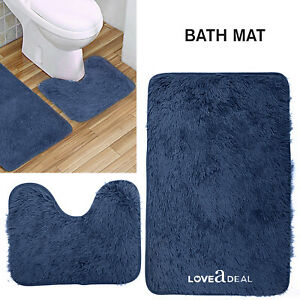 SOFT-SHAGGY-DESIGN-BATH-MAT-SET-Non-Slip-Pedestal-Mat-Toilet-Bathroom-Rugs-Blue
