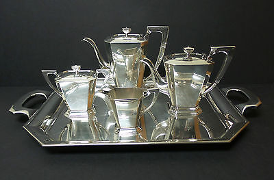 """5-PC MEXICO STERLING SILVER COFFEE / TEA SET & HUGE 22.5"""" STERLING SILVER TRAY"""