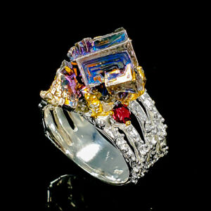 Classic-Jewelry-Natural-Bismuth-925-Sterling-Silver-Ring-Size-8-5-R94036