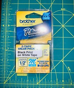 """Brother M231 P-touch Label Tape 1/2"""" Black Print on White Tape 2-Pack #M-2312PK"""