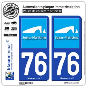 2 Stickers Autocollant style Plaque Immatriculation d/épartement 76