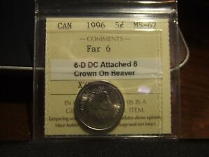 CANADA-FIVE-5-CENTS-1996-ICCS-MS-62-ATTACHED-6-and-CROWN-ON-BEAVER