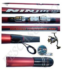 kit canna ninjia bolognese 7m + mulinello filo pesca scogli mare fiume carbonio