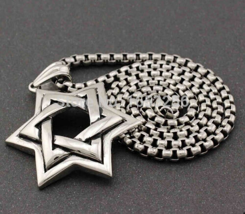 20/'/'-32/'/' Stainless steel Large jewish star of David Necklace Pendant Rolo Chain