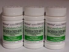 Rising Pharmaceuticals Magnesium Oxide 400mg 120ct White Tabs -3 Pack