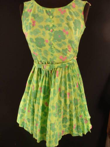 FRENCH VINTAGE 1960'S GREEN NYLON PRINT  DRESS SZ