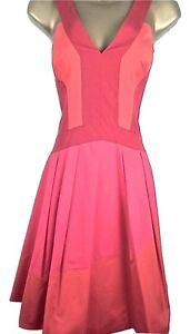8487aef22b KAREN MILLEN Colour Contrast Full Skirt Skater Dress Red Pink Orange ...