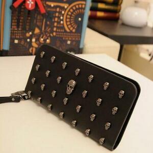 Women-Lady-Leather-Wallet-Clutch-Long-Purse-Punk-Skull-Rivets-Wallet-Handbag-Q