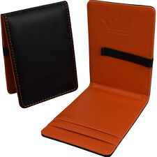 Mens Wallet Premium Money Clip Black & Orange Faux Leather Cash & Card Holder