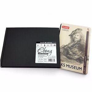 Daler-Rowney-A5-Ebony-Artist-039-s-Sketch-Book-12-x-Bruynzeel-Graphite-Pencils