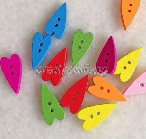 100Pcs Mixed Color Heart/'s Shape Wooden Sewing Buttons Scrapbook 11X22mm Pnk004