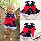 Kids Baby Girls Anchor Bow Lace Tops T-shirt+Shorts Pants 2pcs Suit Outfits Set