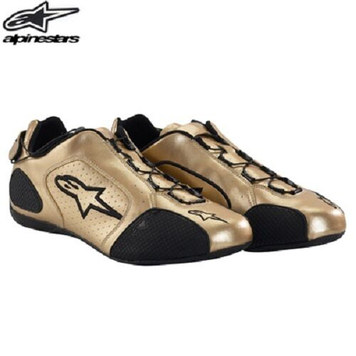 Astars F1 sport Pair Motorcycle shoes gold DISCONTINUED  Mens size 8, Womens 9.5