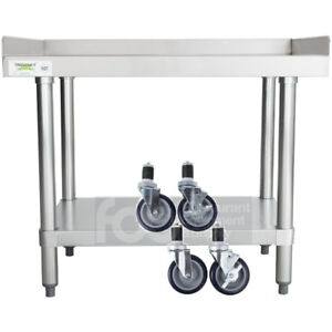 Details About 24 X 30 Heavy Equipment Stand W Casters Stainless Steel Work Table Commercial