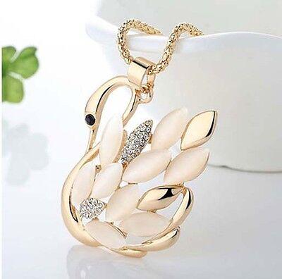 Halskette Damenkette Kette rose Gold mit weißem Schwan 70cm lange Kette