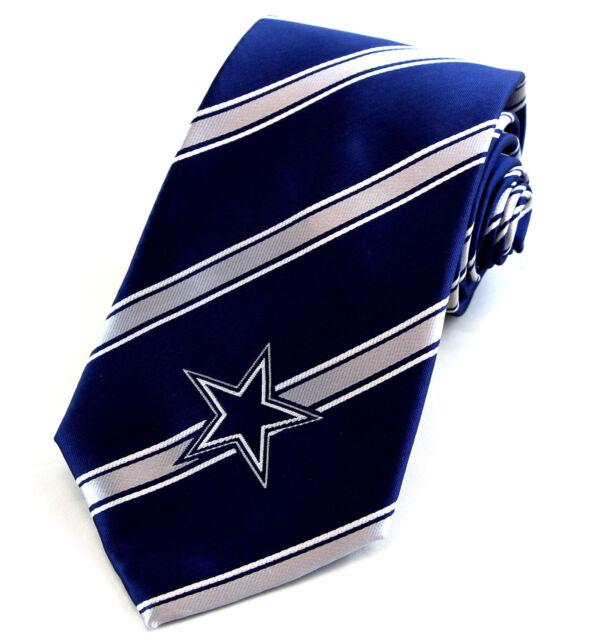 41b4a92988db Dallas Cowboys Mens Neck Tie NFL Football Team Star Logo Striped Blue  Necktie
