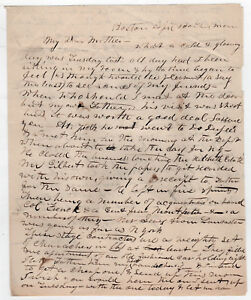 1850s Boston Massachusetts Manuscrit Lettre Francis Holman Bolton Masse Ma 6rvqtFUY-09152906-292774193