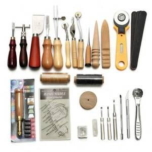 Leder Werkzeug Stitching Craft Hand Nähen Sewing Stitching Groover Set 14 tlg