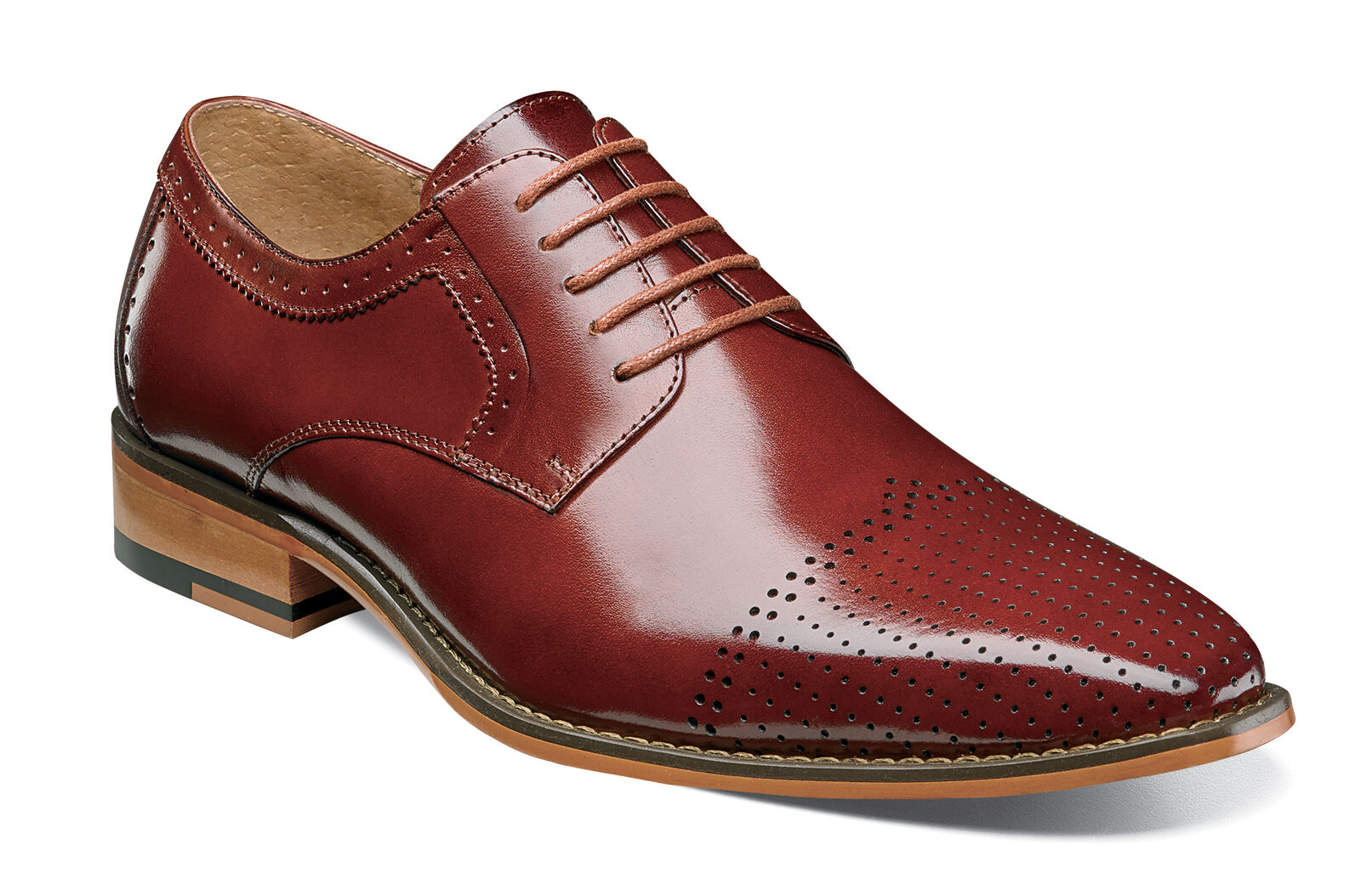 Stacy Adams Sanborn Rust Rosso Buffalo Leather Cap Toe Lace Dress Shoes Size 9.5