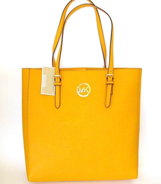 New Michael Kors Jet Set Travel Vintage Yellow Leather Large Tote Hand Bag Purse