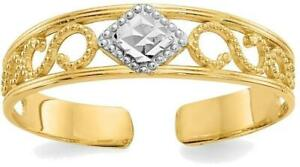14K-Yellow-Gold-w-Rhodium-Plated-Shiny-cut-Accent-Toe-Ring