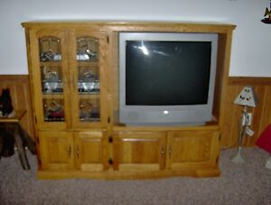 Image Is Loading Tv Entertainment Center Solid Oak Wood Media Wall