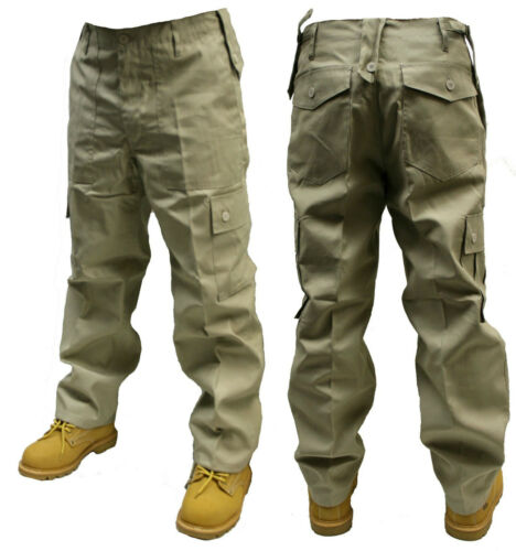 "44 /""Pollici Girovita BEIGE PANNA esercito Cargo Combat Pantaloni Pants"