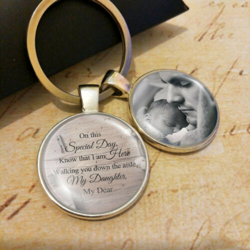 Wedding Picture Personalized Bridal Bouquet Charm Groom Memorial Keyring Dad