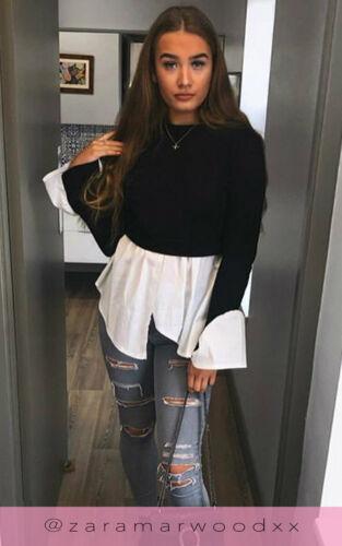 Manica sbuffo Look a Strati Maglione Camicia Volant Orlo manica lunga Tops T-shirt camicetta