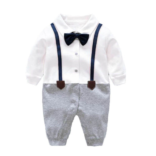 Newborn baby boys wedding party tuxedo bodysuit+hat+socks+shoes baby shower gift