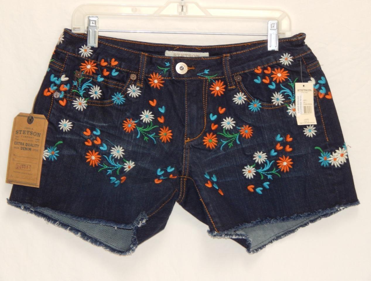 New STETSON Women's Dark Wash Floral Embroidered Denim Short Shorts Size 6
